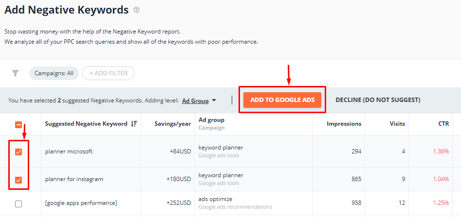 Add negative keywords to your Google Ads account