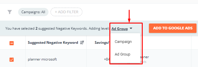Choose the level on which you will add the negative keywords