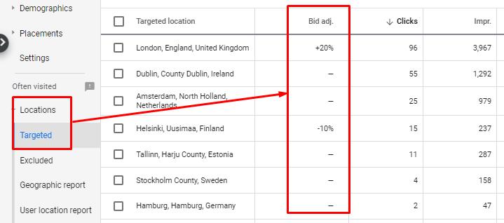 Location bid adjustments in Google Ads