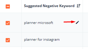 To change keyword match type, hover the cursor over the keyword and press the pencil icon