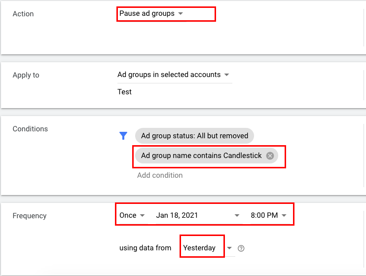 Setting up the rule that stops ads in selected ad group