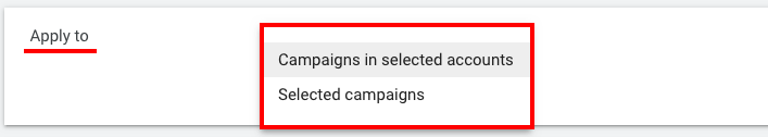 Select specific campaigns or entire accounts
