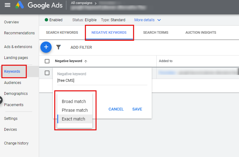 Changing negative keyword match type in the Google Ads interface