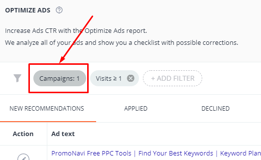 "Click the ""Campaigns"" and select one or several Google Ads campaigns"