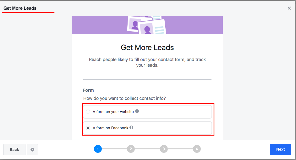 """An example of setting up the goal """"Get More Leads"""""""