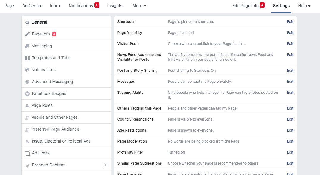 The list of available page settings