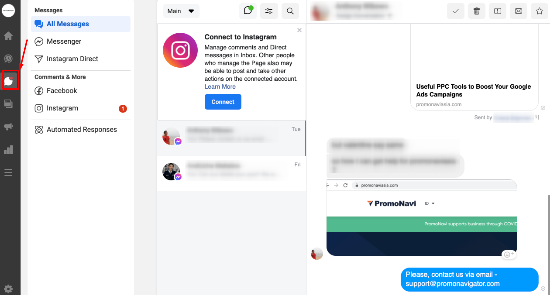 """The """"Messages"""" section in Facebook Business Suite"""