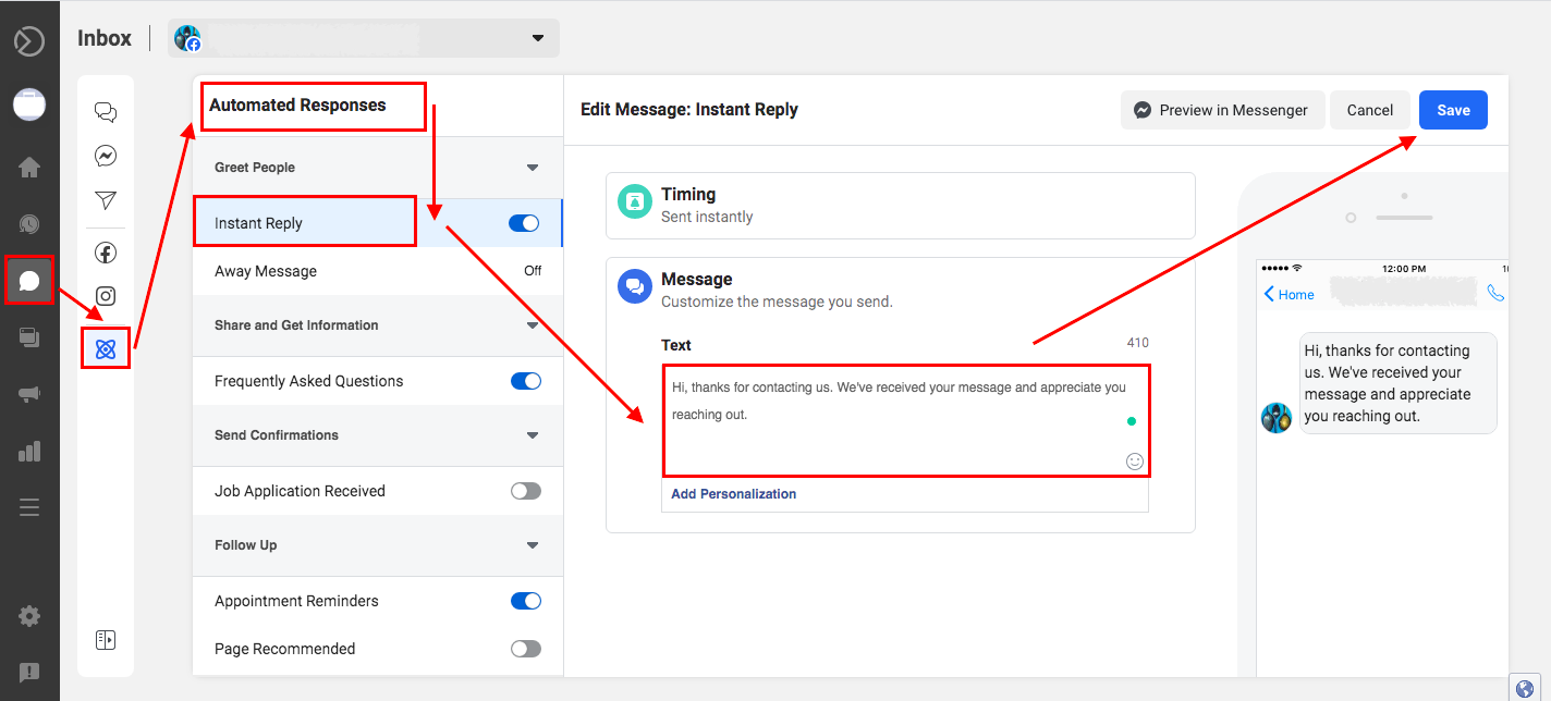 Setting up an automated responses in Facebook Business Suite