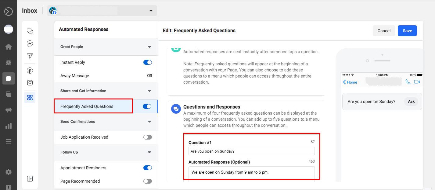 Setting up an automated responses to frequently asked questions