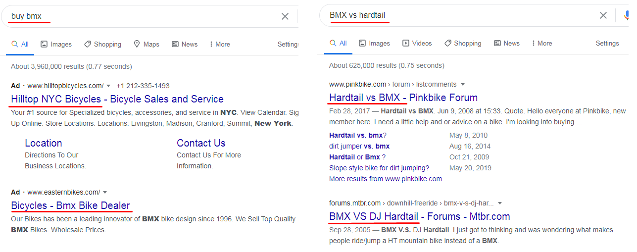 """For the keyword """"BMX vs hardtail,"""" Google doesn't show ads on the top of the search page"""
