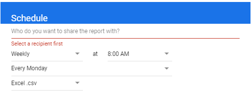 Setting up the report scheduling