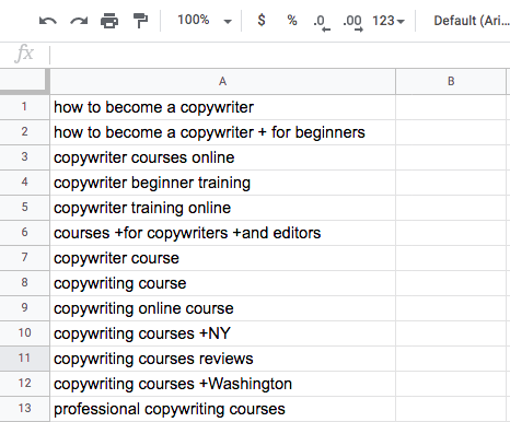 For all keywords within this ad group, the system will display one ad for an online copywriting course