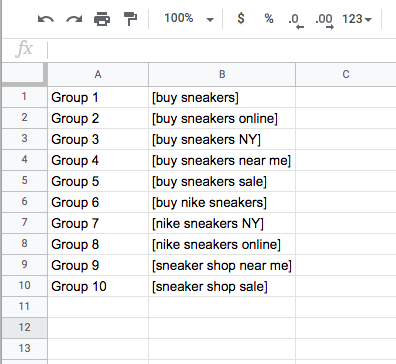 We created ten ad groups, each with one exact match keyword