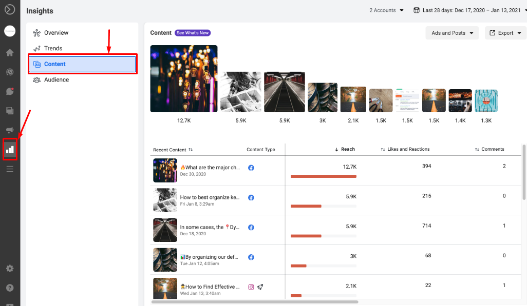 An example of the Content insights