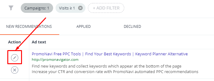 To display recommendations, click on the pencil icon to the left