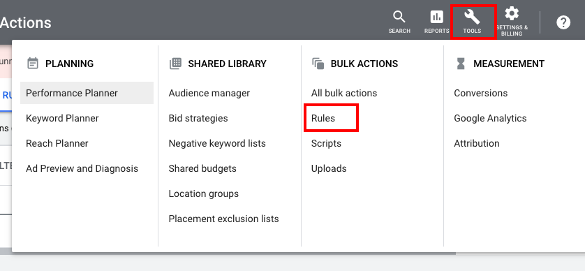 You can get access to the Rules from the Tools section —>Bulk actions —> Rules