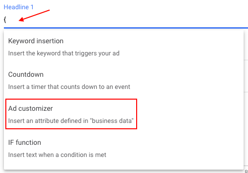 "Ad customizer lets you insert an attribute defined in ""Business data"""