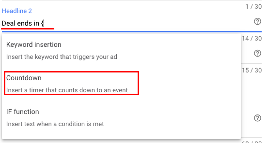 "Choose ""Countdown"" from a drop-down"