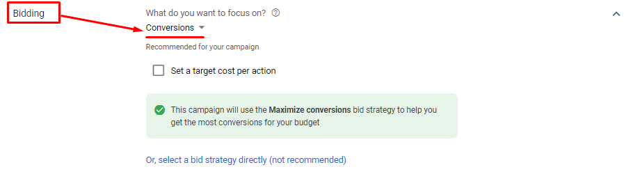 "An example of setting up the ""Maximize conversions"" bid strategy"