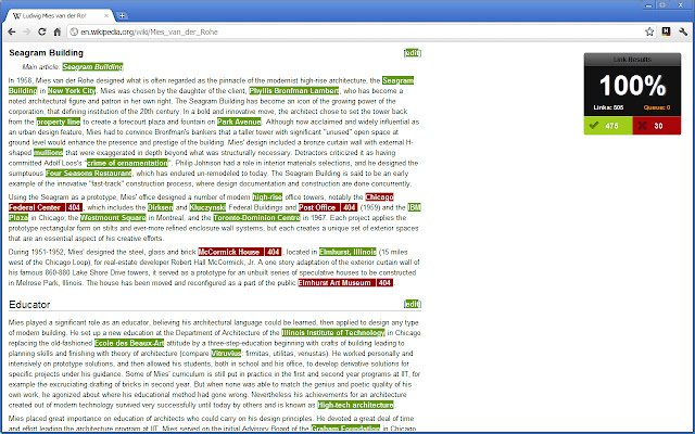 Healthy links are highlighted in green; broken links are highlighted in red