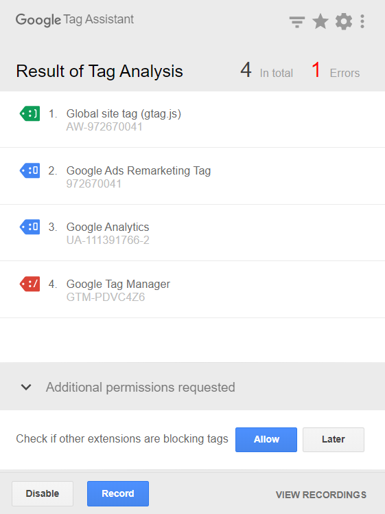 Tags with errors are marked in red; click them to find improvement recommendations