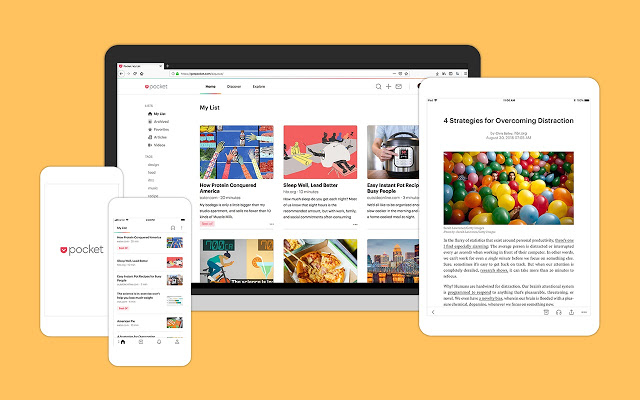 With Save to Pocket, you can synchronize your bookmarks across different devices