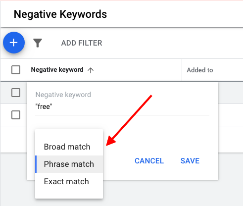 The default matching option for negative keywords is broad match