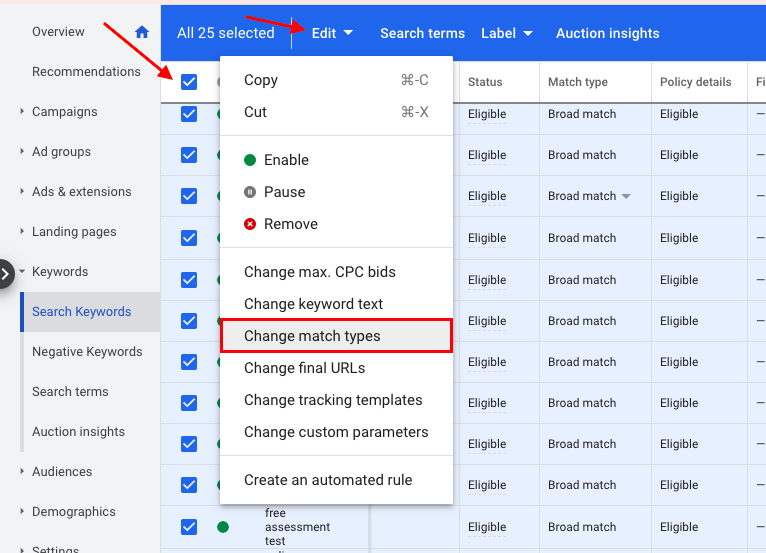 Check the box in the menu bar if you want to perform a bulk change to all keywords on the page