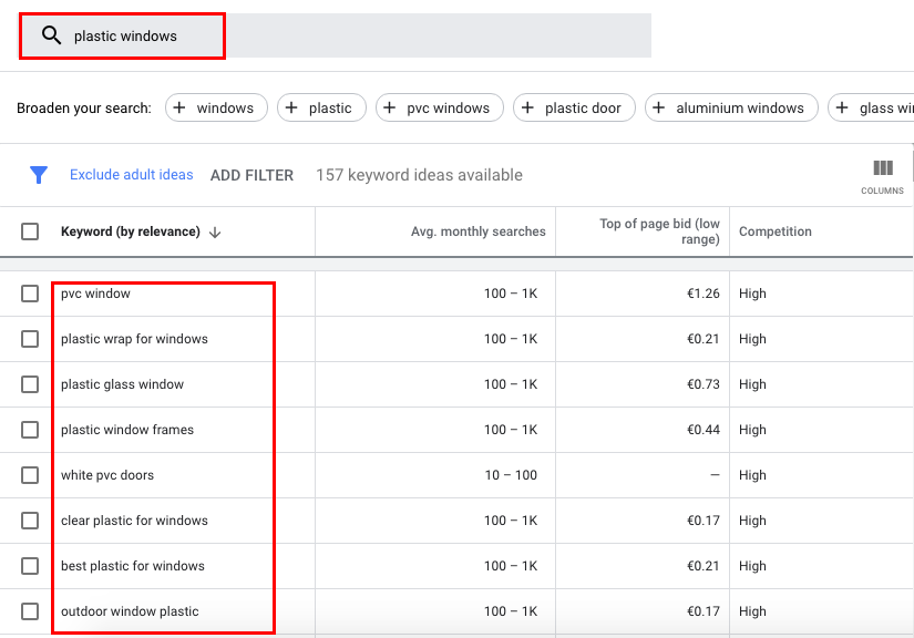 Some queries may be irrelevant to your product/service. In this case, you need to add them to the negative keyword list