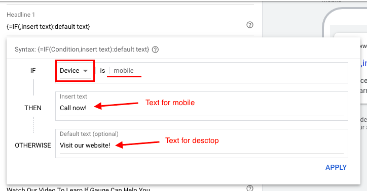 Texts for mobile and desktops should be different