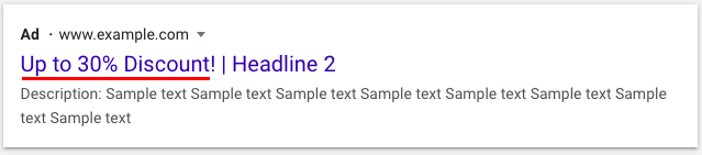 An example of a headline with a special offer