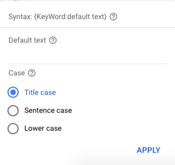 A set-up window for keyword insertion