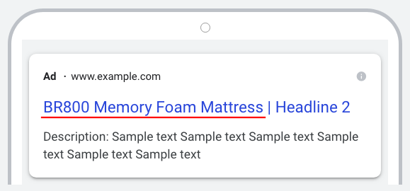 An example of an ad using a customizer