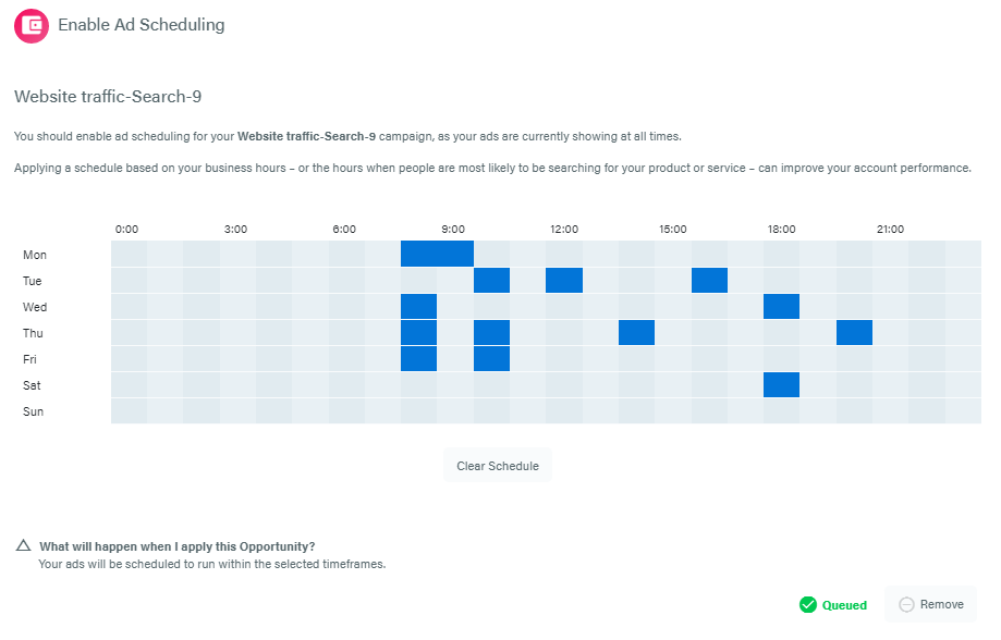 Queued ad scheduling in Adzooma