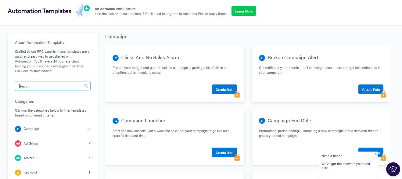 Adzooma's automated rules templates