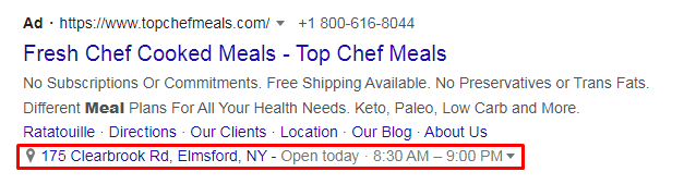 An ad with a location extension on Google