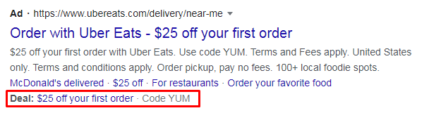 An ad with a promotion extension on Google