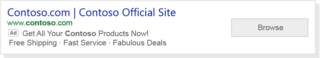 An ad with action extension on Microsoft Advertising.
