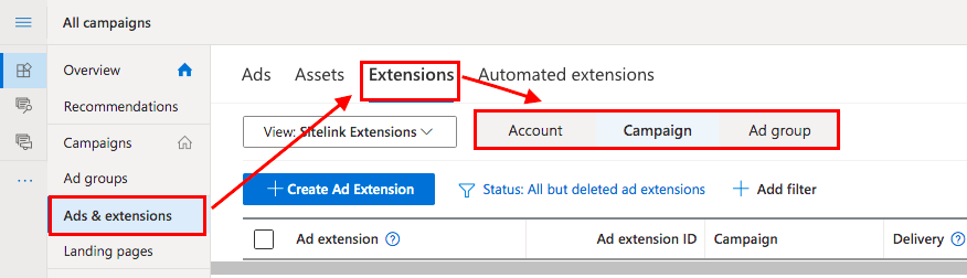 Extensions in Google Ads and Microsoft (ex-Bing) Advertising