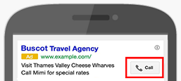 An ad with a call extension on Google Ads