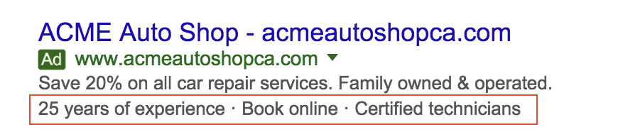 An ad with a callout extension on Google