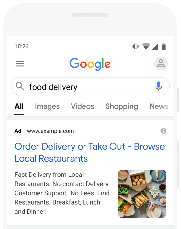 An ad with an image extension on Google