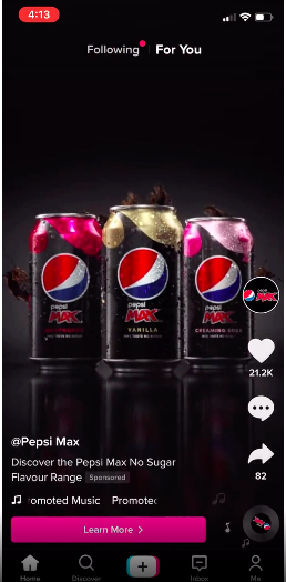 An example of the Brand Takeover ad on TikTok