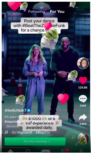 An example of the Branded Effects ad on TikTok